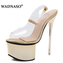 WADNASO Women Sandals Gladiator Party Ankle Strap PVC Transparent Concise Ultra Very High Heel Pumps 16CM Fetish Shoes 34-40