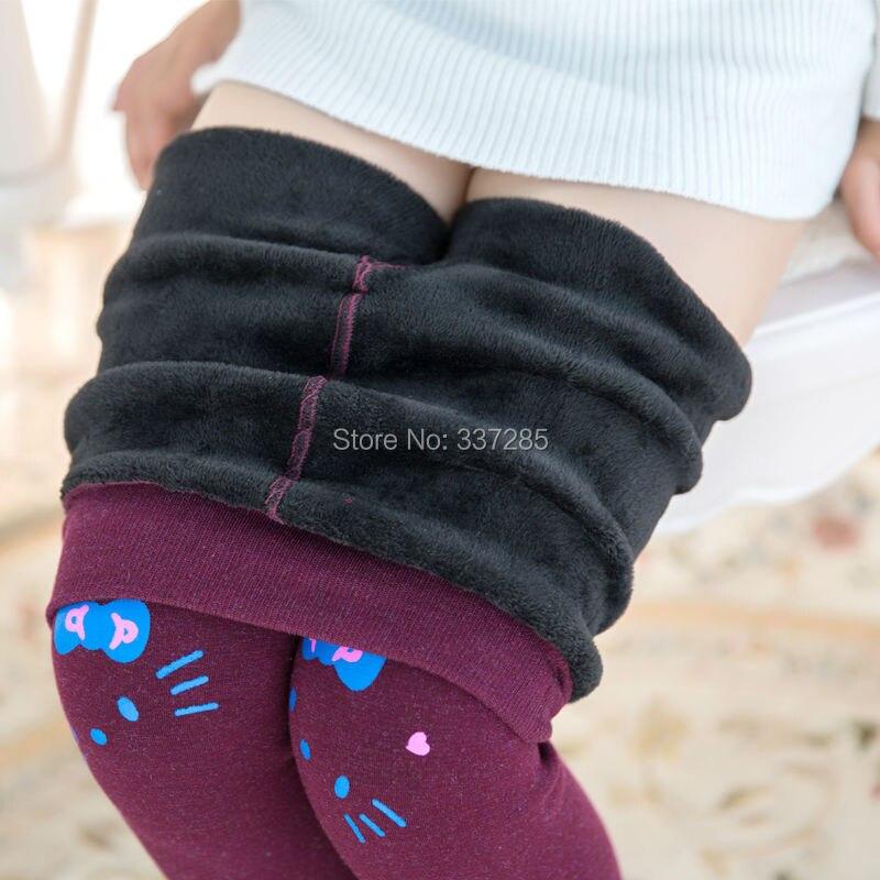 Нови момичета зимата панталони бебе дете деца памук прекрасна котка гамаши топло cartton котка еластична талия кожа мека топ модни панталони за момичета