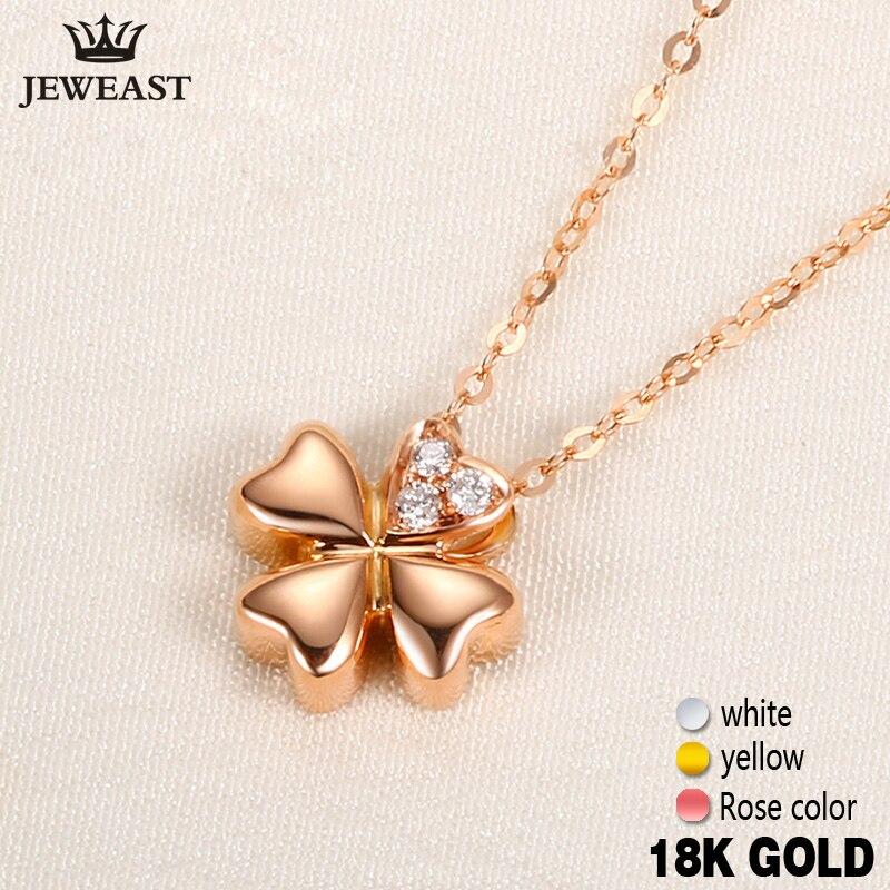 18 К Gold diamond Цепочки и ожерелья кулон женский Для женщин Девушка мисс Подарок Сеть Шарм Клевер Мода партия роза белая желтый настройки