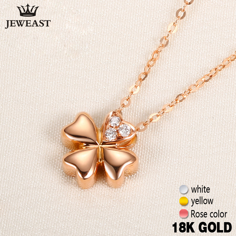 18k Gold Diamond Necklace Pendant Female Women Girl Miss Gift Chain Charm Clover Trendy Party Rose White Yellow Customization 18krgp four leaves clover diamond pendant alloy necklace gold