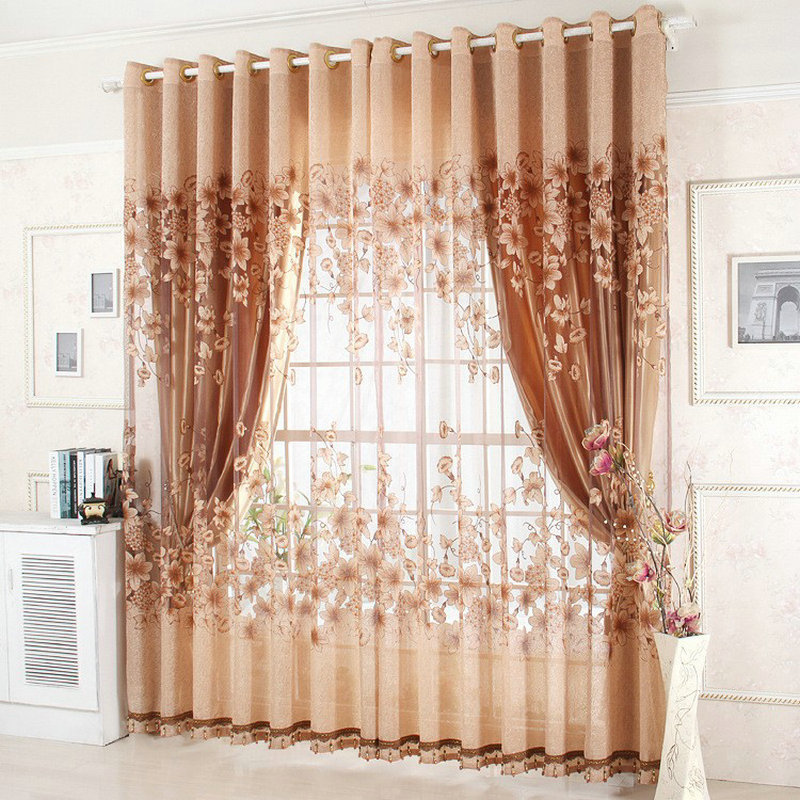 Wholesale Finished Curtains For Living Room Tulle/Sheer +Blackout Luxury Curtains For Wedding Freeshipping Red/Green/Purple