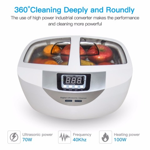 Digital Ultrasonic Cleaner  Baskets Jewelry Watches Dental 2.5L 60W 40kHz Heating Ultrasound Ultrasonic Vegetable Cleaner Bath Lahore