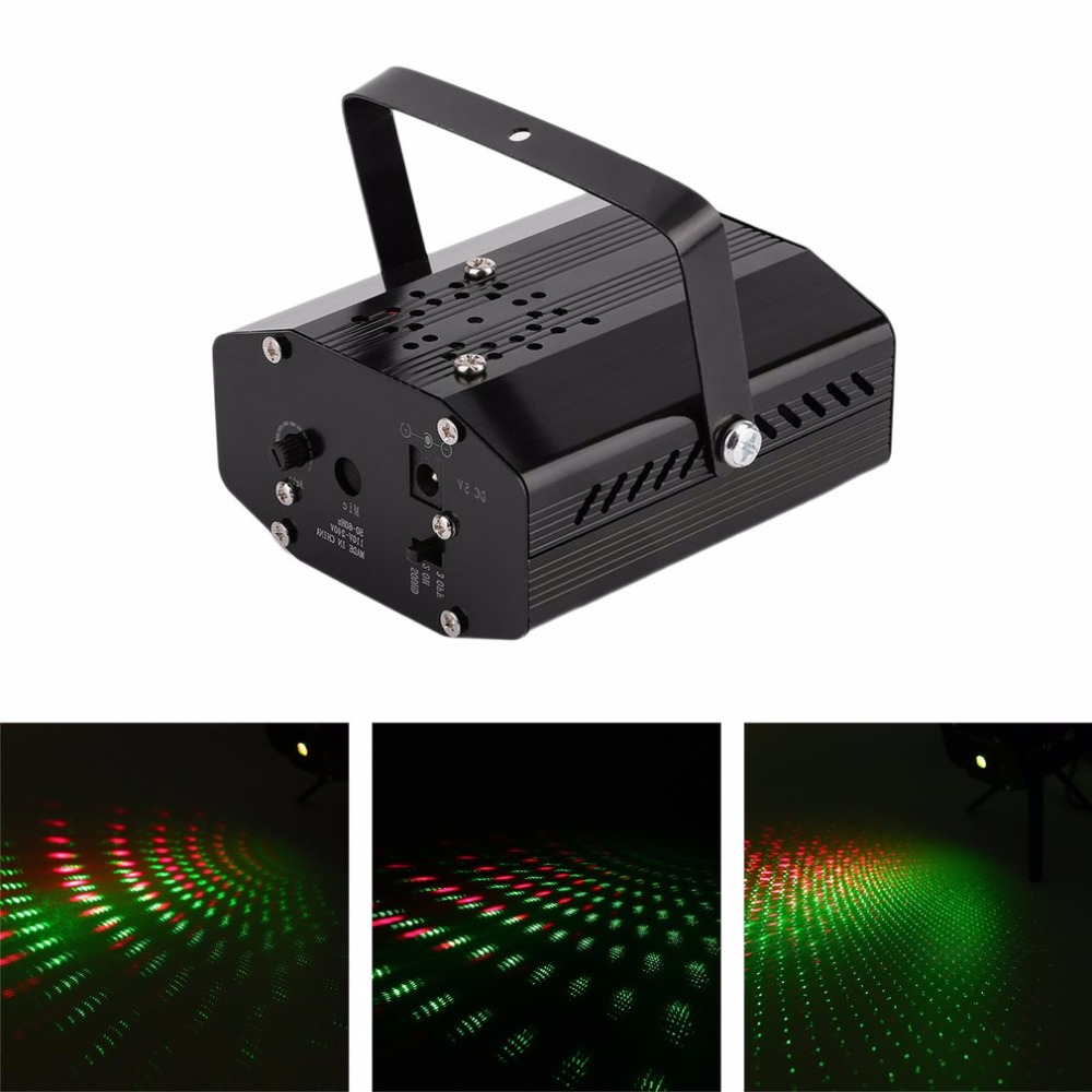 Mini Portable 110-240V LED R&G Laser Projector Stage Lighting Adjustment DJ Disco Home Christmas Party Club High Stability