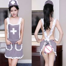 1 Set Women Sexy Halloween Role Play Grey Uniform Nurse Cosplay Babydoll Underwear Chemises Lingerie Sexy Erotic Costumes(China)