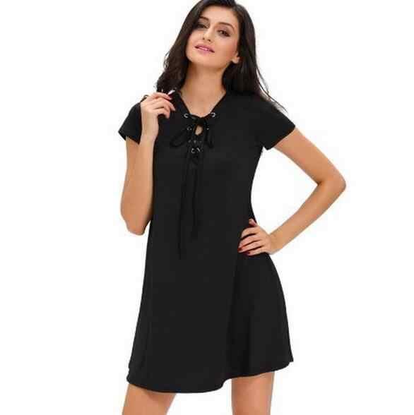 2019 AliExpress סקסי שמלות לנשים מוצק צבע קצר שרוול שחור חדש עניבת חזה תחרה מיני שמלת Vestidos BLK3068