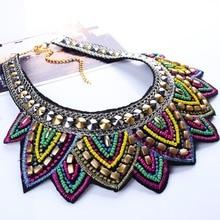 Leaf Rhinestone Resin Short Collar Necklace