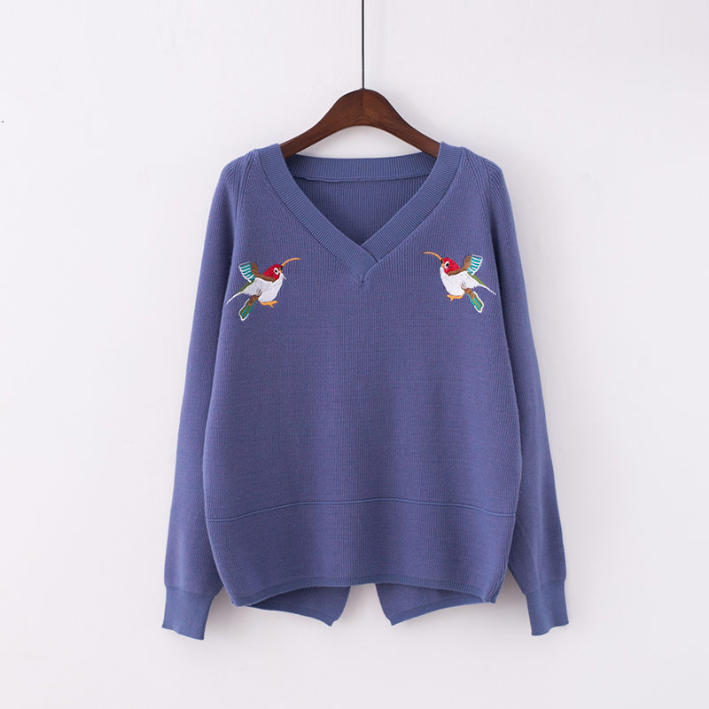 RUGOD New Birds Embroidery Knitted Pullover Women 2018 Autumn V Neck Long Sleeve Cashmere Sweater For Women Christmas Sweaters