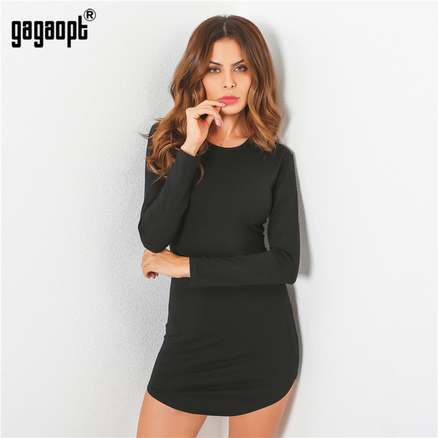 Gagaopt 2017 4 Colors Autumn Dress Sexy Mini Slim Office Dress Long sleeve Bandage Summer Dress Solid Robes Vestidos