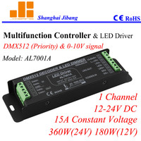 Free Shipping Multiple signal control led drivers, DMX & 0 10V dimmable, 1channel/12V 24V/15A /380W pn:AL7001A