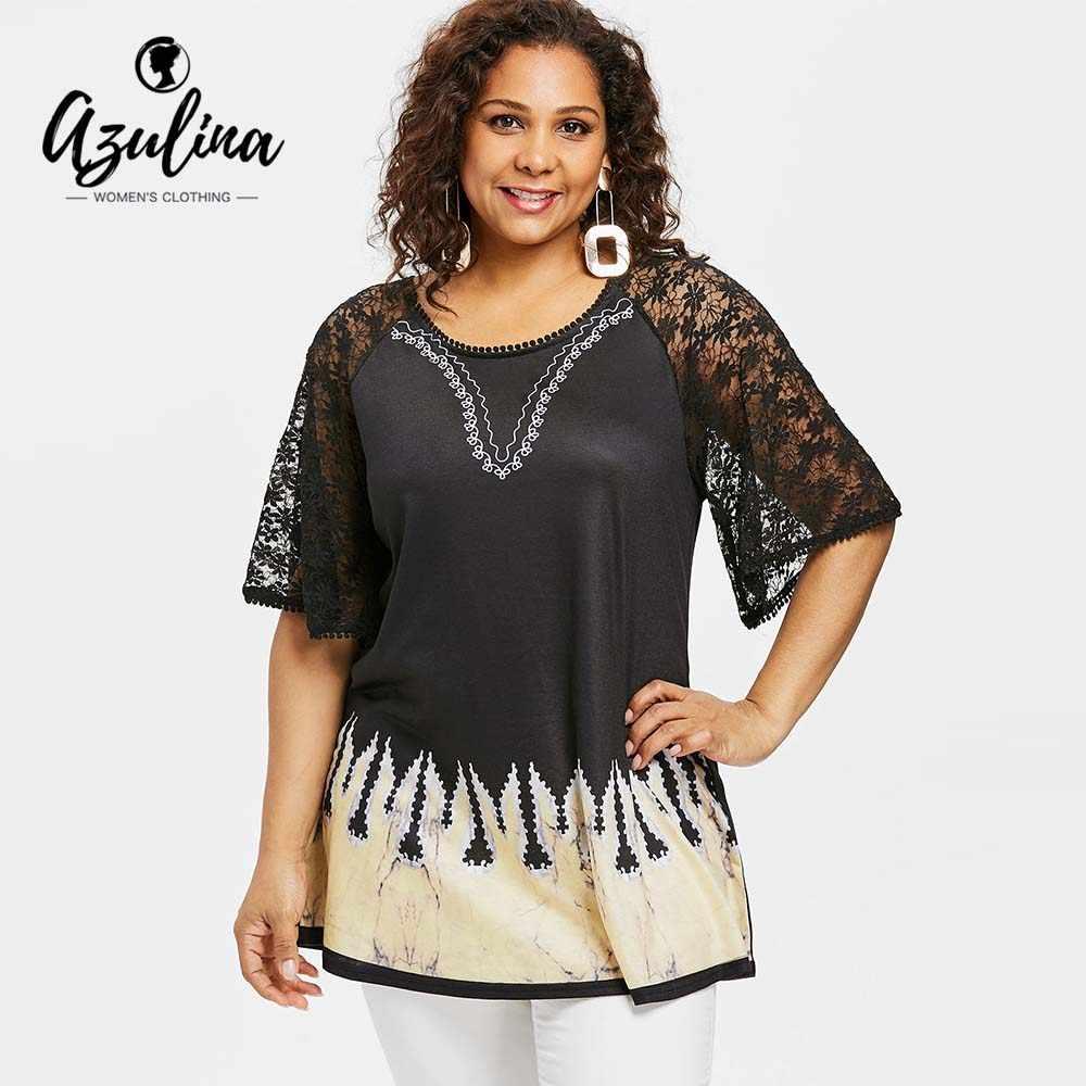 AZULINA Plus Size Ethnic Print Lace Long Tee Women T-Shirt Summer Casual O  Neck 1dc70b655