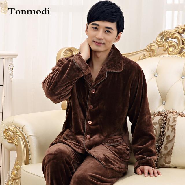 Pijama de Flanela Quente Café Espessamento dos homens de Meia Idade dos homens Sleepwear Salão Sono Pijama Define Pijama Dos Homens 4XL