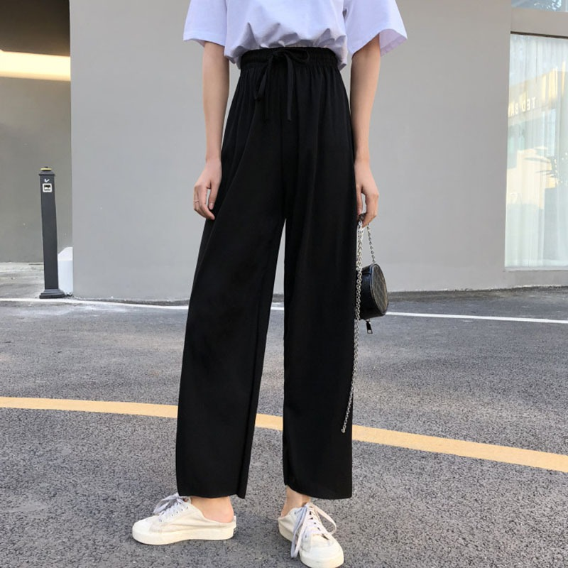 Drawstring Women High Waist   Pants   Black Solid   Wide     Leg     Pants   Women's Casual Loose Harajuku Trousers
