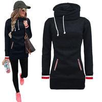 High Neck Winter Women Hoodies Long Sleeve Fashion Striped Style Sweatshirt Blue Grey Black Red Loose