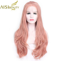 AISI BEAUTY 28inches Natural Long Wavy Pink Braided Princess Synthetic Lace Front Wig For Women Costume Party Cosplay Black