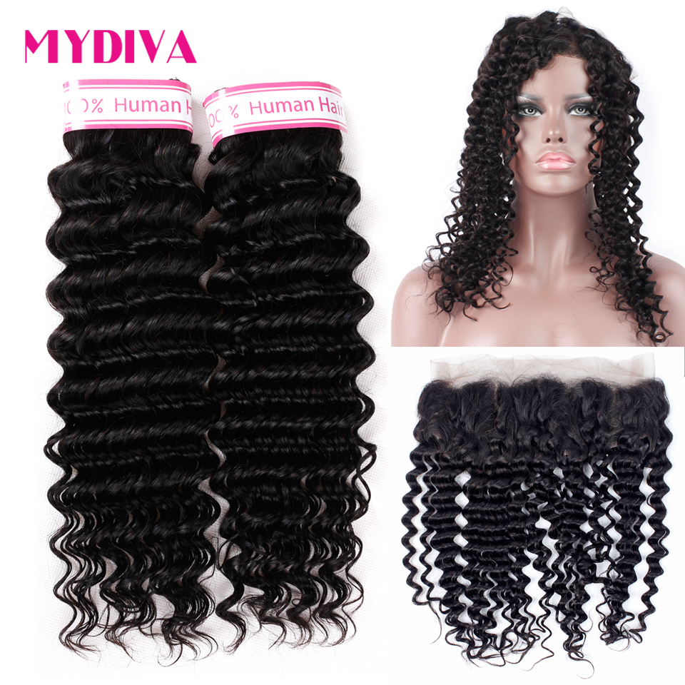 Brazilian Deep Wave Bundles With Closure Pre Plucked 360 Lace Frontal With Bundles Non Remy Human Hair Extension 3 Pcs/Lot