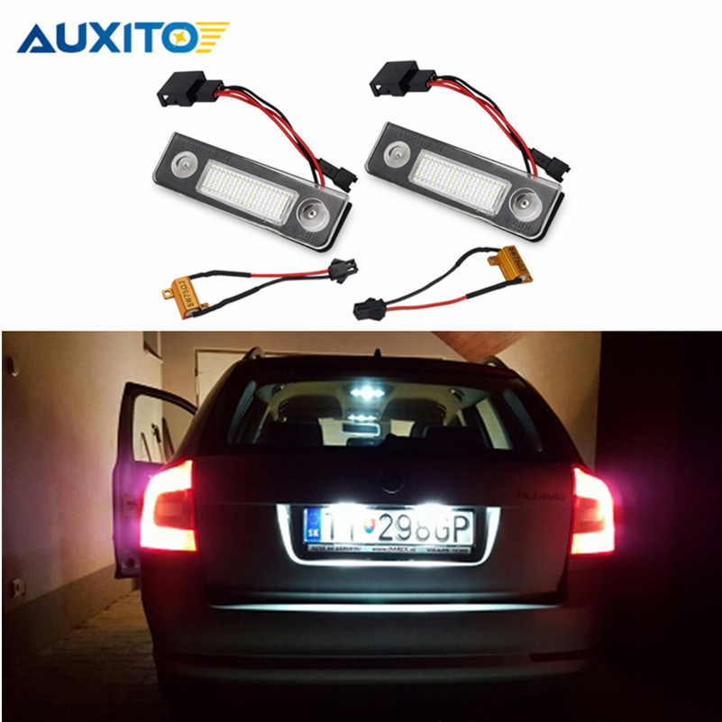 AUXITO 2X Car <font><b>LED</b></font> Number License Plate Lights For VW <font><b>Skoda</b></font> <font><b>Octavia</b></font> 1Z Roomster 5J No Error 3528 SMD Canbus White License Lamp
