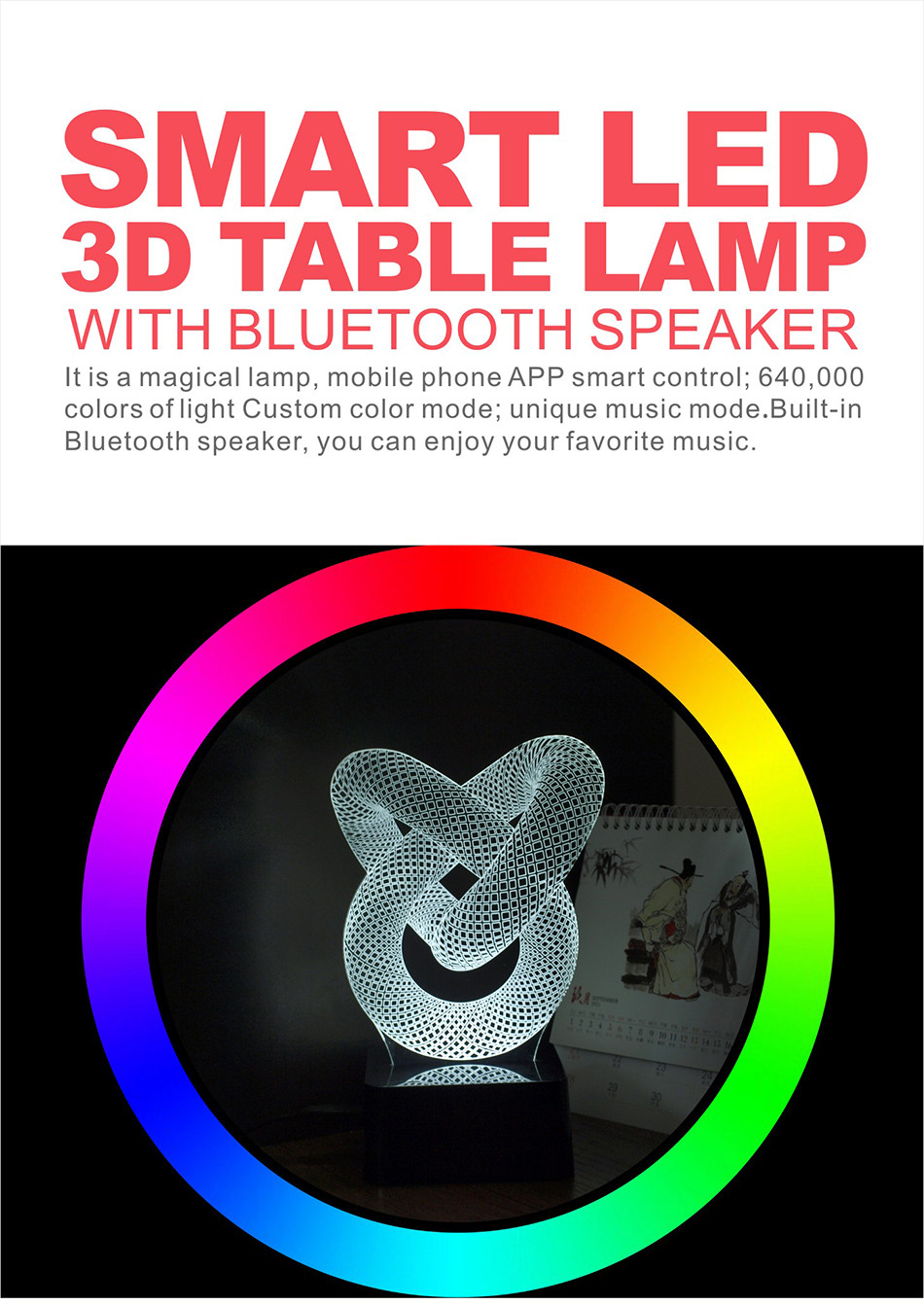 Novelty Christmas Light for Chiese Knot 3D Led Besides Lamp Music NightLights with Bluetooth Speaker (1)