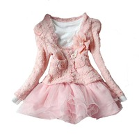 Cute Toddler Girl Clothing Sets Christmas 2017 Autumn Winter Pink Cardigan Coat Lace Sequins Dress 2pcs