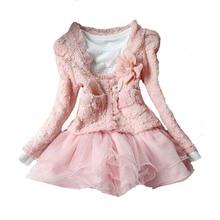Mignon enfant fille vêtements ensembles de noël 2017 automne hiver rose cardigan manteau + dentelle paillettes dress 2 pcs enfants bébé filles vêtements