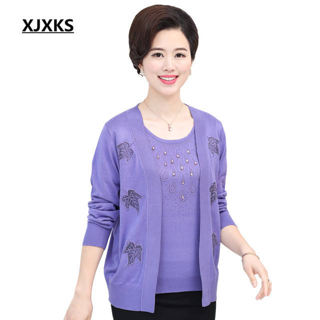 91582c6b802 US $25.64 5% OFF|XJXKS Middle aged Women Outerwear Sweater Autumn Mother  Clothing Plus Size Cashmere Sweater Cardigan Twinset Set 6831-in Cardigans  ...