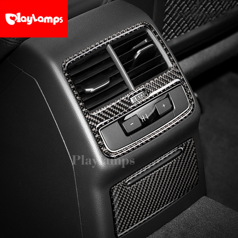 Carbon Fiber Rear Air Condition Cover Trim Air Outlet Decor Car Styling Stickers car ashtray cover For <font><b>Audi</b></font> <font><b>a4</b></font> <font><b>2017</b></font> image