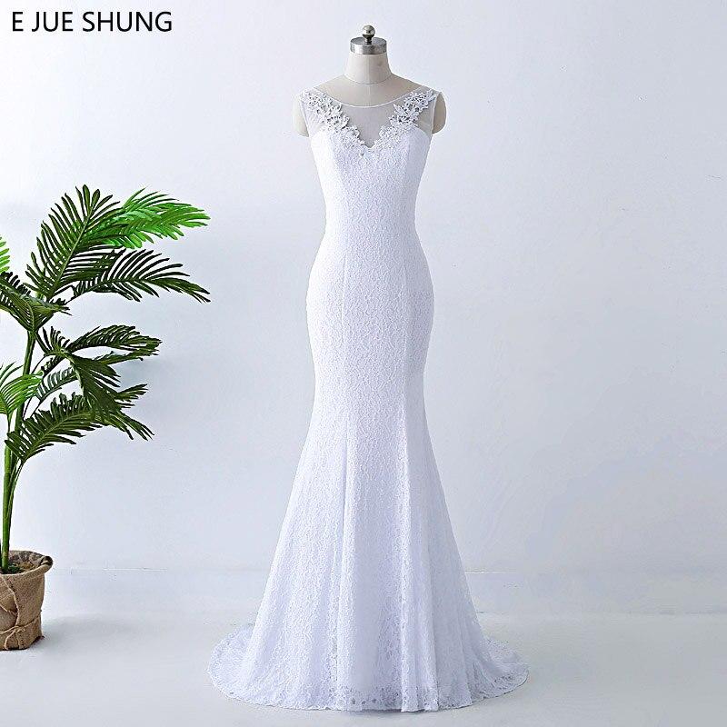 E Jue Shung Weiss Vintage Spitze Mermaid Gunstige Hochzeit Kleider