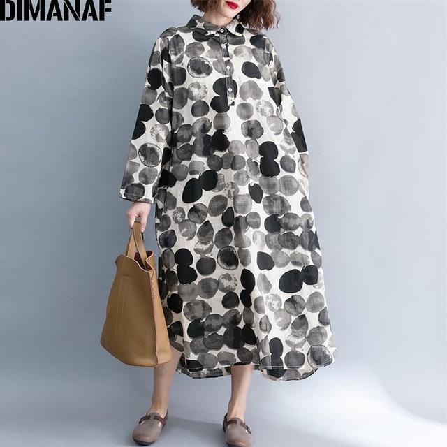 47aa57a5430 DIMANAF Women Long Dresses Plus Size Elegant Ladies Vintage Linen Vestidos  Female Clothes Print Dot Loose Oversized 2018 Autumn