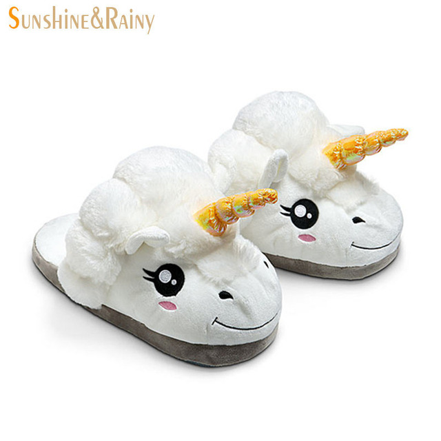 ab358178789 Sunshine   Rainy Ins Fashion Cute Unicorn Home Shoes Children Adults Warm  Indoor Slippers Kids Boys