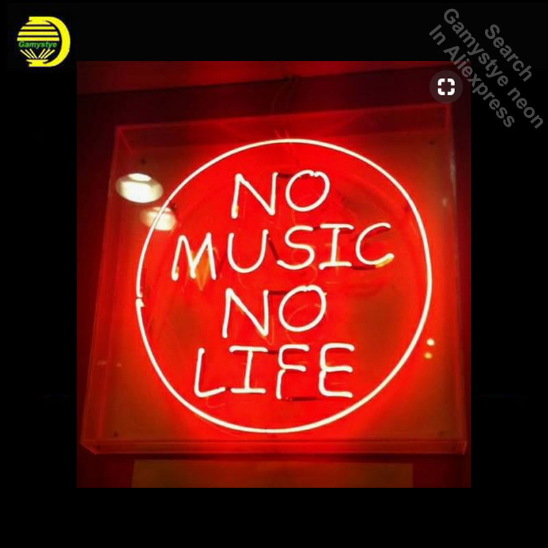 NO MUSIC NO LIFE NEON LIGHT SIGN REAL GLASS Tube PUB Sign Decorate Home Room Store Displ ...