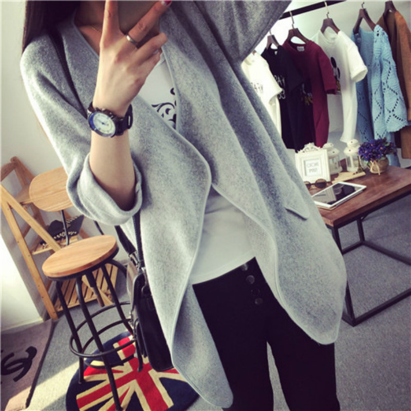 New Loose Mid-Long Sweaters, Large Turn-Collar Women's Casual Knitted Cardigans In Autumn And Winter Coats