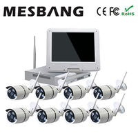 Hot cheap build in 1TB HDD hard disk 10 inch monitor NVR kit 8ch CCTV IP Camera System Wireless free delivery by DHL Fedex