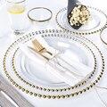Скандинавские креативные бусины с золотым краем и серебристым краем  тарелки  роскошный стиль  простой дизайн  стеклянная тарелка для стейк...