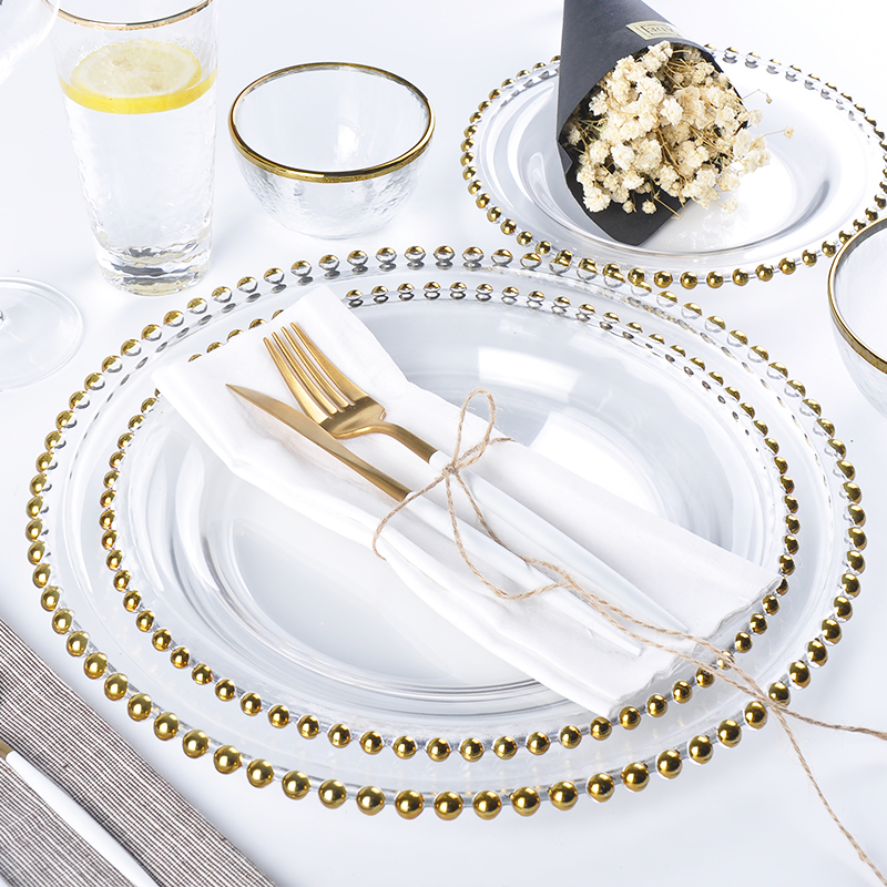 Nordic Creative Gold Edge Silver Edge Beads Plates Luxury Style Simple Design Glass Plate Steak Plate Main Course Plate 12inch|Dishes & Plates| |  - title=