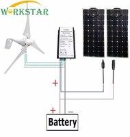 Моно 18 В 100 Вт гибкие Панели солнечные 2 шт. + 400 Вт ветрогенератор с 12 В/24 В ветер и солнечной гибридный контроллер для 12 В/24 В системы