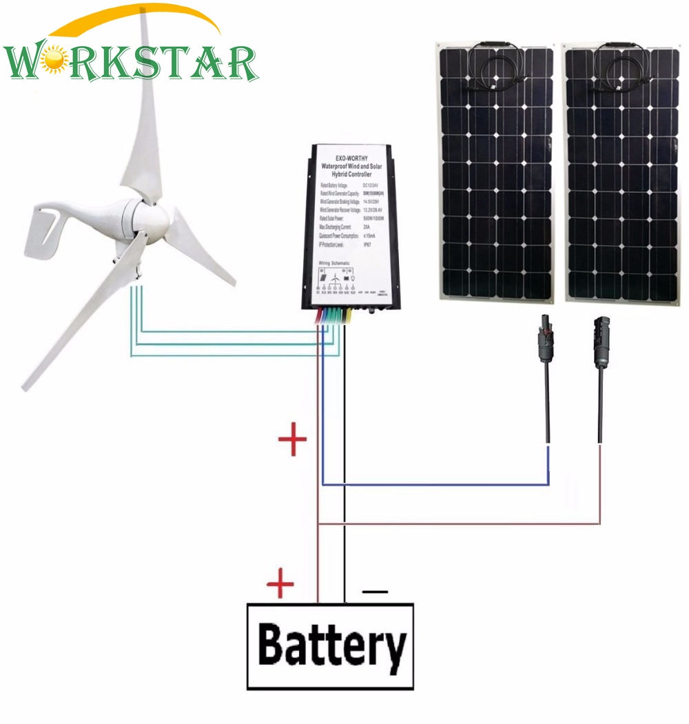 Mono 18V 100W Flexible Solar Panel 2pcs + 400W Wind Generator with 12V/24V Wind and Solar Hybrid Controller for 12V/24V system 6pcs 100w flexible solar modules 400w vertical wind generator with 4000w inverter and controllers 1000w wind solar power system