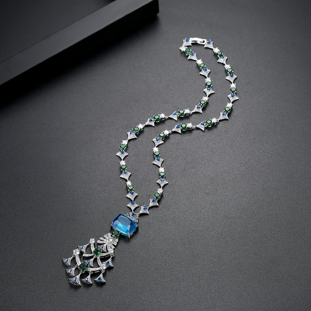 Image 5 - LUOTEEMI New Ethnic Chandelier Necklace for Women Luxury CZ  Jewelry for Wedding Party Double Color Colar Feminino Christmas  GiftPendant Necklaces