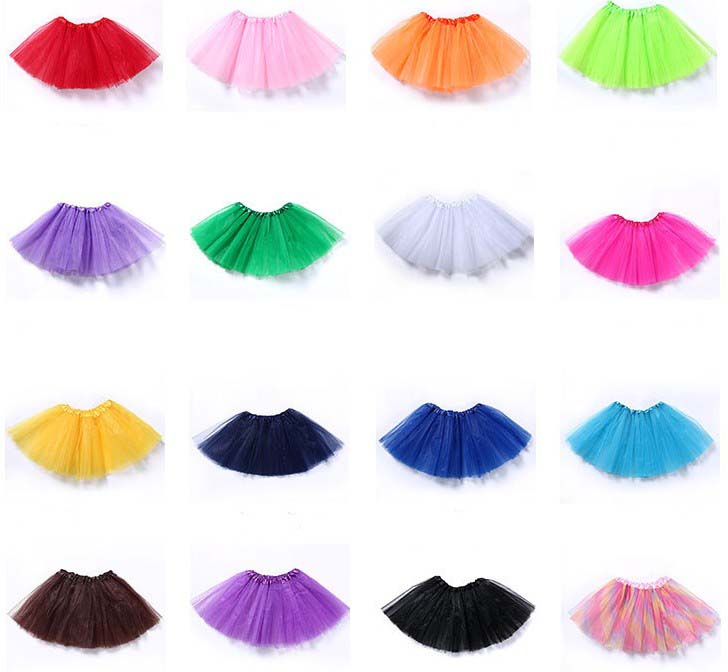 30cm Short Transparent Blue Pink Red Ballet Petticoat Tulle Skirts Girls Elastic 3 Layers Child Tutu Skirt Underskirt Rockabilly