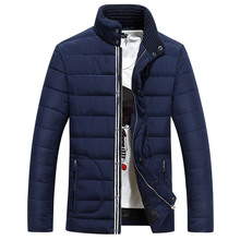 Stand Collar Solid Color Men Cotton Winter Coat Water resistant Slim Erkekler Pamuk Parkas