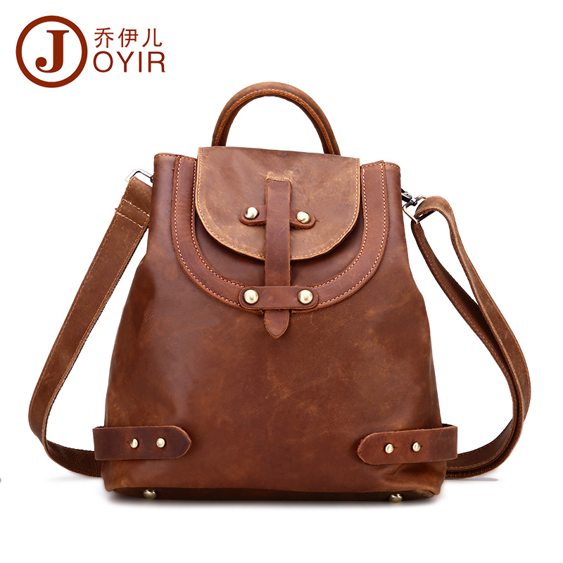 ФОТО 2017 NEW fashion crazy horse leather cowhide genuine leather backpack bag woman casual style brown shopping bag women bag 3010