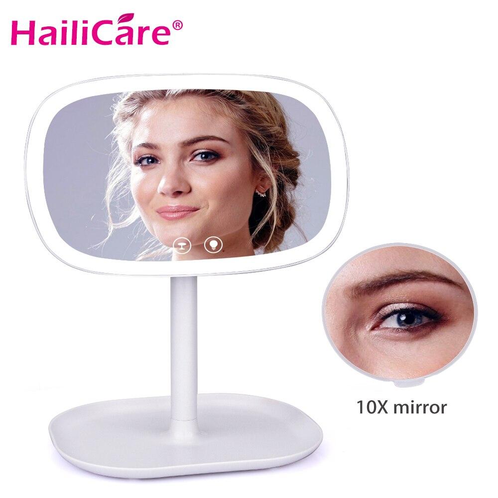 Multifuncional LED espejo de maquillaje portátil 10X Magnifyiny compacto Desklamp pantalla táctil espejo con iluminación de luz