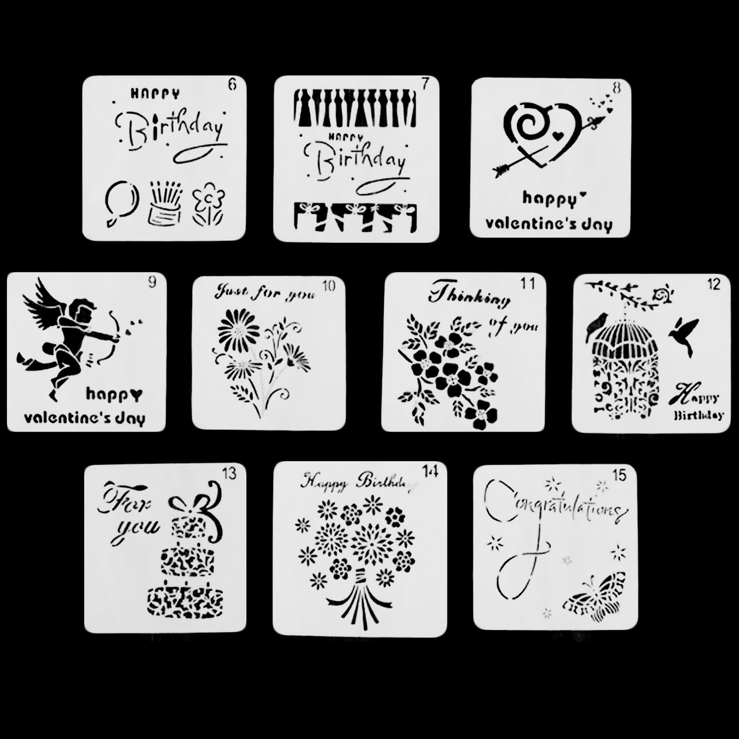 10PCS Washable Reusable Plastic Drawing Painting Stencil Templates ...
