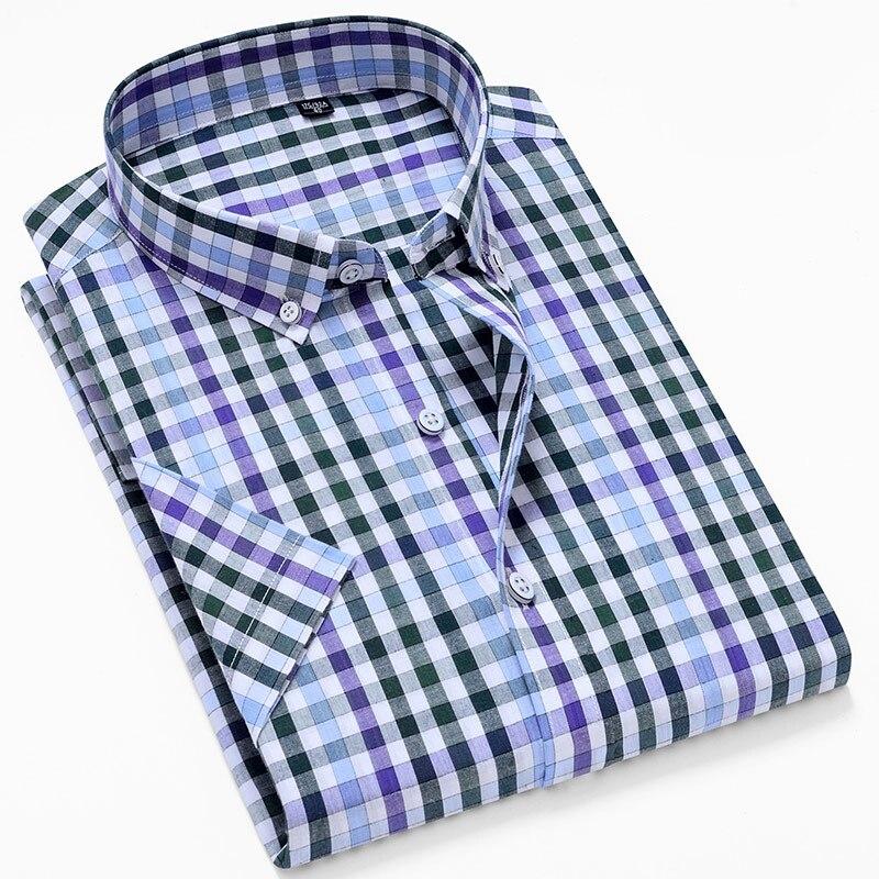 MACROSEA Men's Summer Style Casual Shirts Plaid Men's Social Shirts High Quality 100% Cotton Short Sleeve Men's Shirts HW