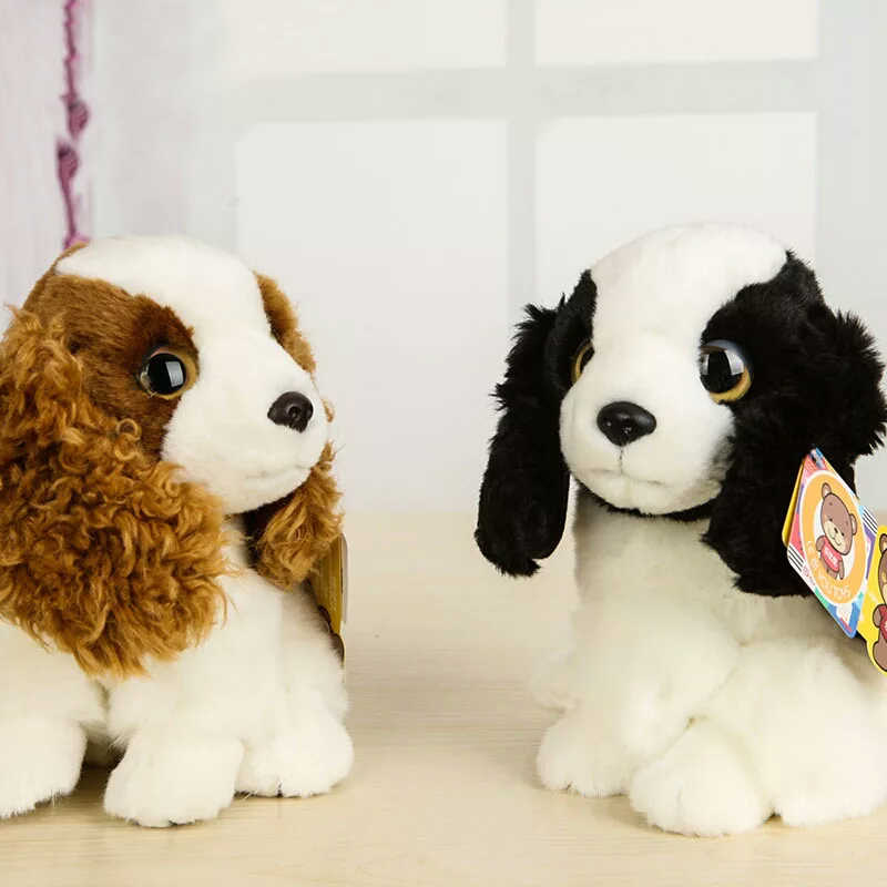 """7 """"похожая на настоящую английская Весенняя собака спаниеля щенок кокер собака спаниеля плюшевые игрушки сидящие с большими глазами плюшевый щенок игрушка мягкие детские игрушки подарки"""