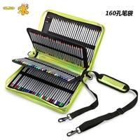 Large capacity pen bag professional art pen curtain beginners color lead lead bag pen box 160 hole dazzle color laser, does not