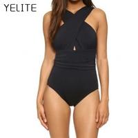 YELITE 2018 Black Sexy Cross Halter Women Swimwear One Piece Swimsuit Red Solid Women Bathing Suits