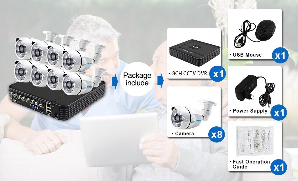 Smar 8CH 1080N AHD DVR Kit 8PCS HD 1.0MP2.0MP Real Time Outdoor Security Cameras Video DVR Kits CCTV Surveillance System (2)