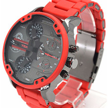 Luxury Dual Time Display Business Watches for Men Red Steel Strip Sport Quartz Chronograph