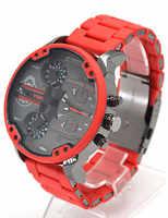 Montres d'affaires de luxe à double affichage du temps pour hommes montre chronographe à Quartz Sport bande en acier rouge Style Dz Relogio Masculino