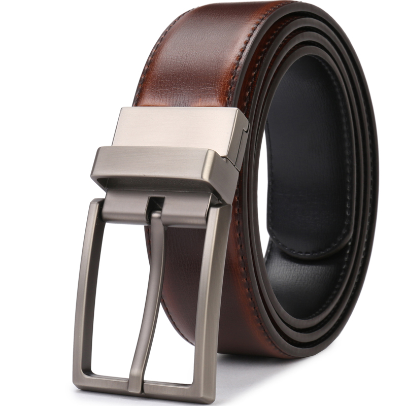 Men's Genuine Leather Belt Reversible Buckle Belts For Men Luxury Strap Male Waistband Rotated Buckle Dress Belt 75cm To 160cm
