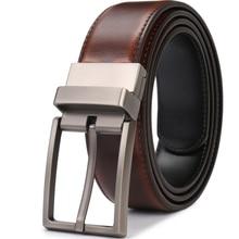 Cintos reversíveis de couro genuíno masculino luxo cintura girada fivela vestido 75cm a 160cm